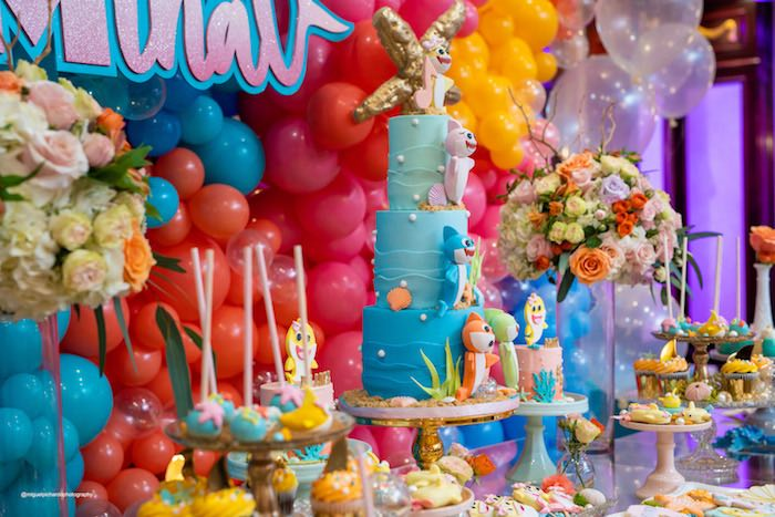 Under The Sea Dessert Table From A Baby Shark Birthday Party On Karas Ideas