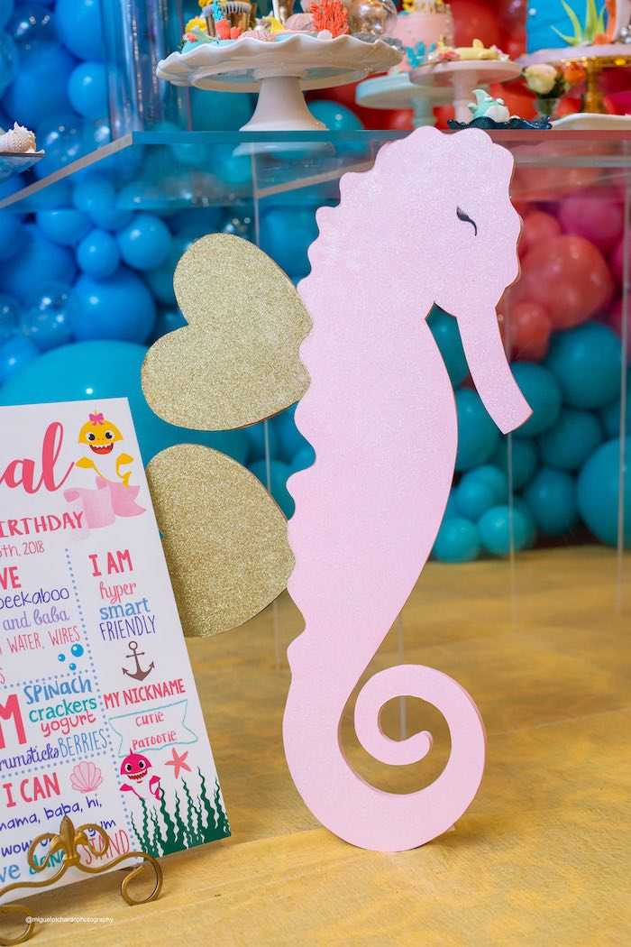 Shimmering Seahorse Standee from a Baby Shark Birthday Party on Kara's Party Ideas   KarasPartyIdeas.com (8)