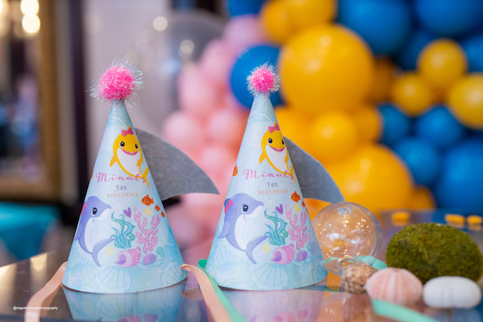 Baby Shark Party Hats from a Baby Shark Birthday Party on Kara's Party Ideas | KarasPartyIdeas.com (2)