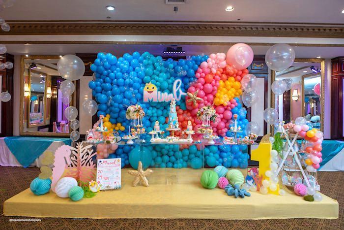 Under the Sea Dessert Table form a Baby Shark Birthday Party on Kara's Party Ideas   KarasPartyIdeas.com (29)