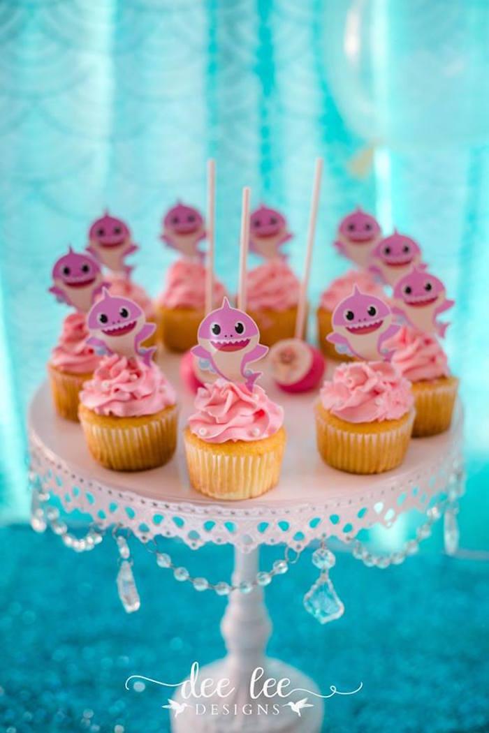Baby Shark Cupcakes From A Birthday Party On Karas Ideas