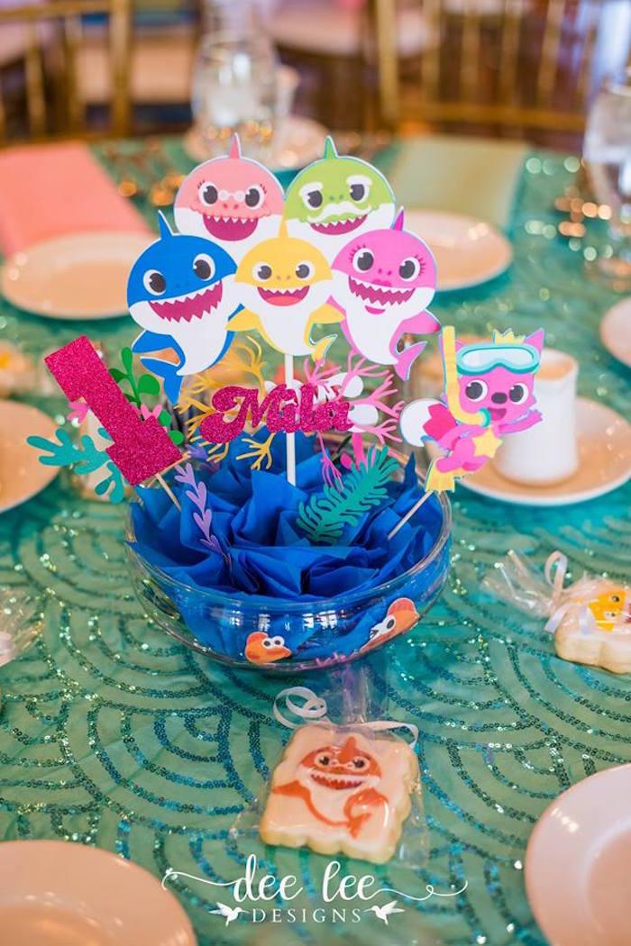 Baby Shark-inspired Table Centerpiece from a Baby Shark Birthday Party on Kara's Party Ideas | KarasPartyIdeas.com (18)