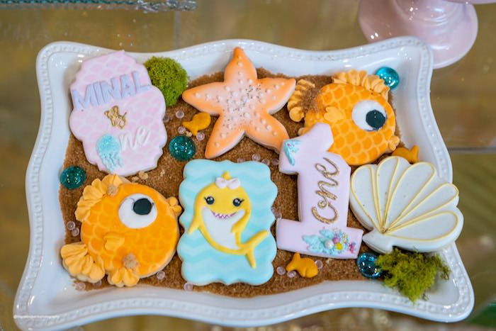 Under the Sea Cookies from a Baby Shark Birthday Party on Kara's Party Ideas | KarasPartyIdeas.com (26)