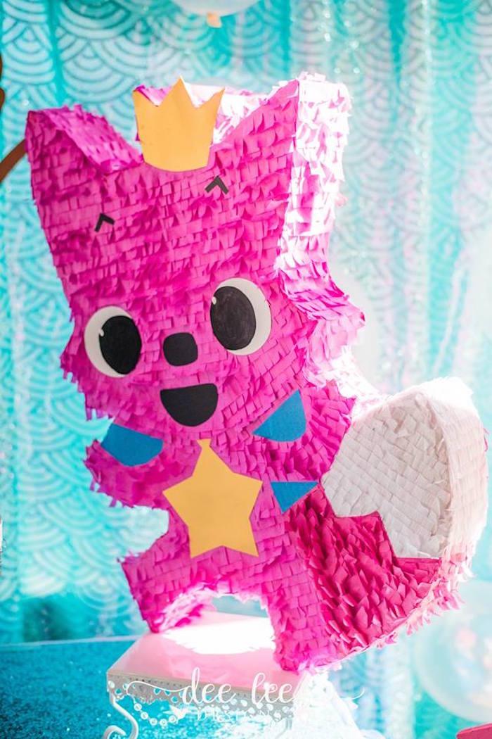 Pink Fox Pinata from a Baby Shark Birthday Party on Kara's Party Ideas | KarasPartyIdeas.com (16)