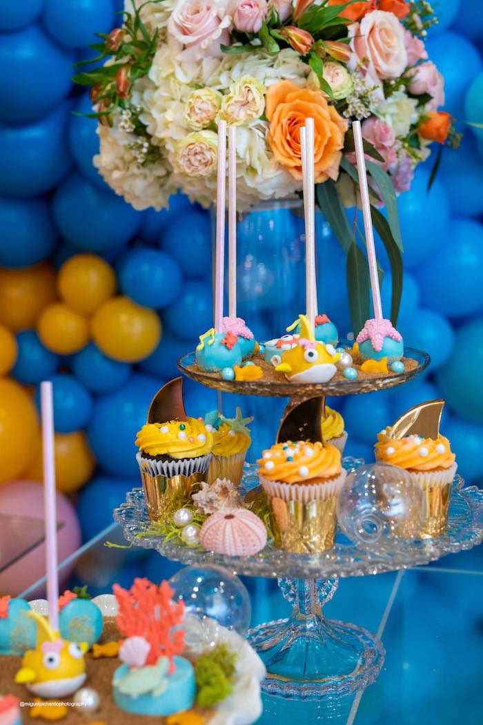 Under the Sea Cake Pops + Cupcakes from a Baby Shark Birthday Party on Kara's Party Ideas | KarasPartyIdeas.com (23)