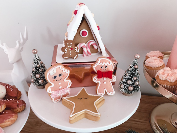 Gingerbread House + Cookies from a Blushing Brunch & Bubbly Holiday Party on Kara's Party Ideas | KarasPartyIdeas.com (20)