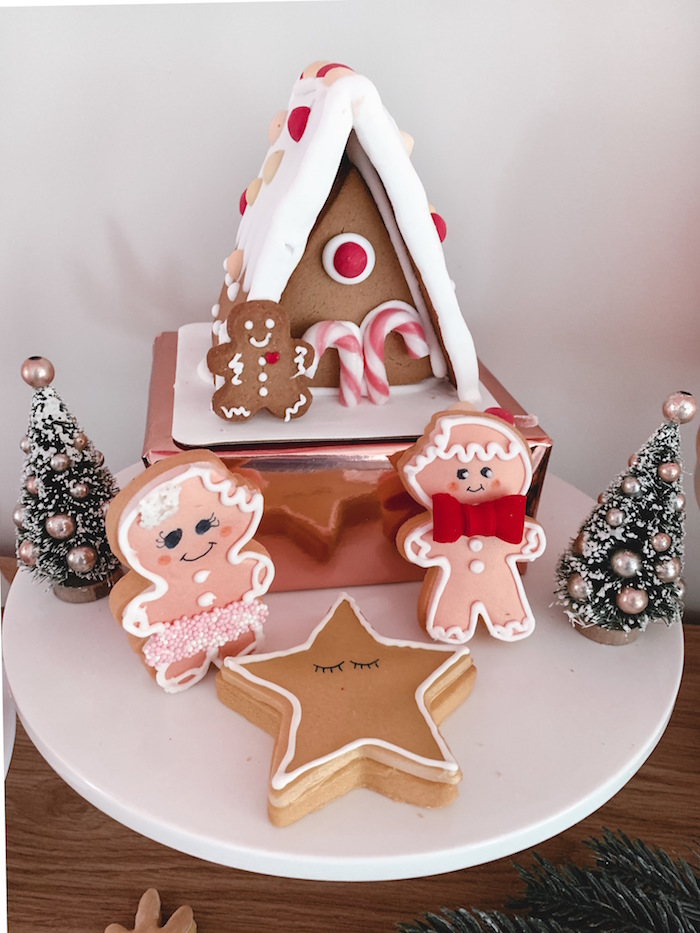 Gingerbread House + Cookies from a Blushing Brunch & Bubbly Holiday Party on Kara's Party Ideas | KarasPartyIdeas.com (19)
