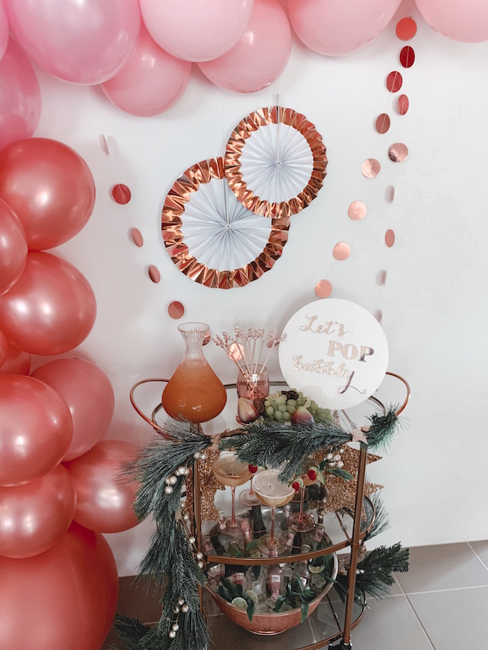 Rose Gold Bubbly Cart from a Blushing Brunch & Bubbly Holiday Party on Kara's Party Ideas | KarasPartyIdeas.com (14)