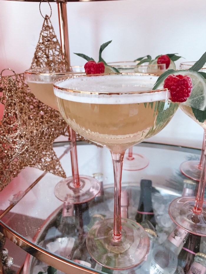 Blush Bubbly Glasses from a Blushing Brunch & Bubbly Holiday Party on Kara's Party Ideas | KarasPartyIdeas.com (12)