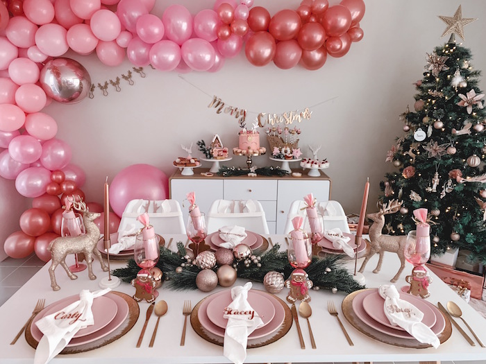 Blush Party Tables from a Blushing Brunch & Bubbly Holiday Party on Kara's Party Ideas | KarasPartyIdeas.com (29)