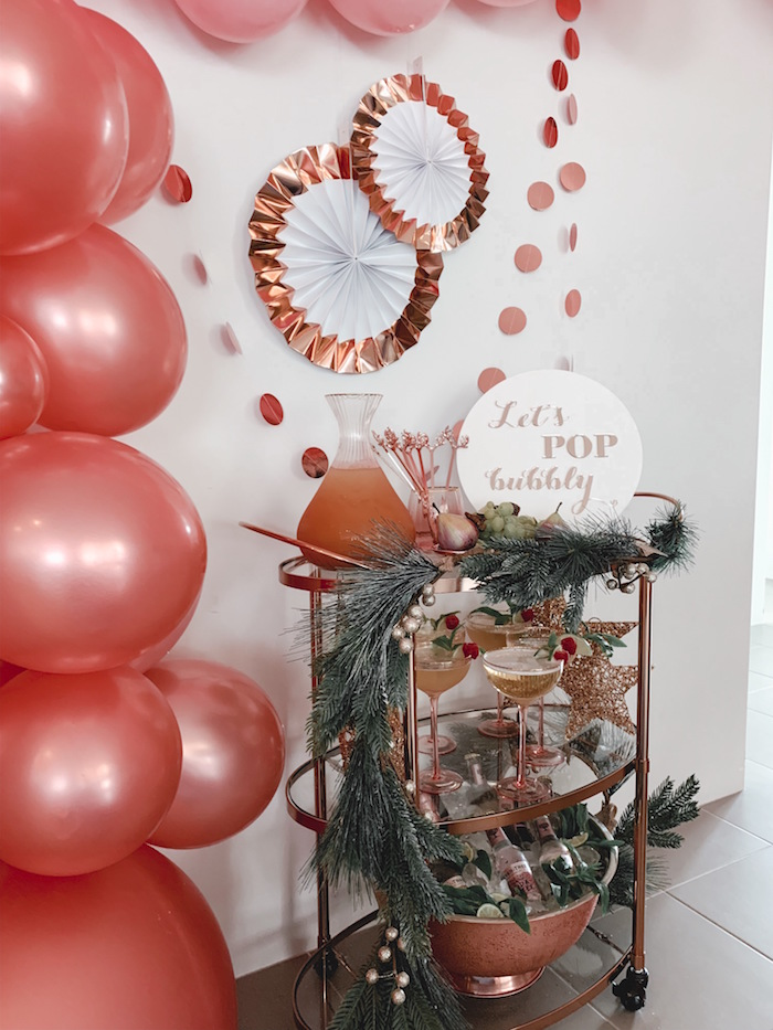 Rose Gold Bubbly Cart from a Blushing Brunch & Bubbly Holiday Party on Kara's Party Ideas | KarasPartyIdeas.com (9)