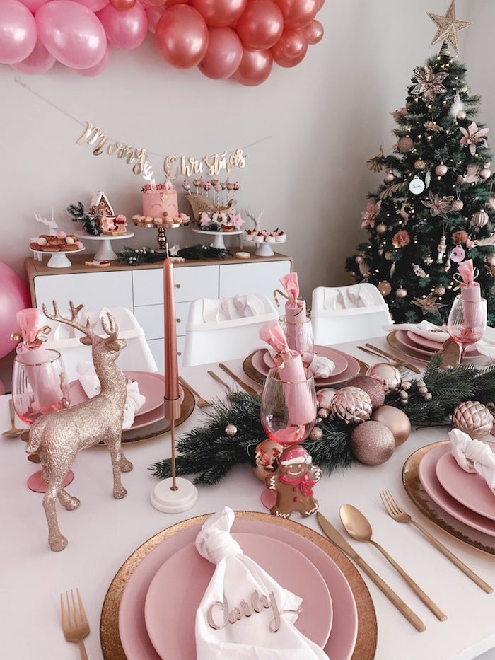 Blush-inspired Party Table from a Blushing Brunch & Bubbly Holiday Party on Kara's Party Ideas | KarasPartyIdeas.com (28)