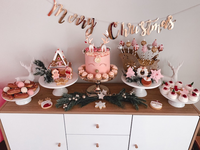 Blush-colored Christmas Dessert Table from a Blushing Brunch & Bubbly Holiday Party on Kara's Party Ideas | KarasPartyIdeas.com (27)