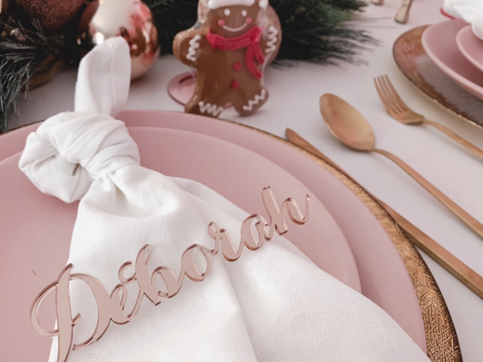 Acrylic Blush Name - Place Setting from a Blushing Brunch & Bubbly Holiday Party on Kara's Party Ideas | KarasPartyIdeas.com (24)
