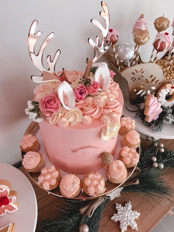 Blush Reindeer Cake from a Blushing Brunch & Bubbly Holiday Party on Kara's Party Ideas | KarasPartyIdeas.com (21)