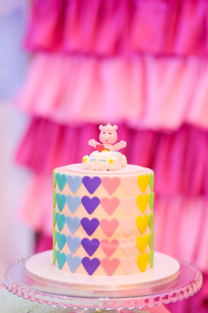 Care Bear Heart Cake from a Care Bears Birthday Party on Kara's Party Ideas | KarasPartyIdeas.com (4)