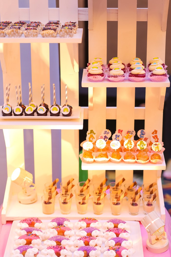 Tiered- White Fence Dessert Table from a Care Bears Birthday Party on Kara's Party Ideas | KarasPartyIdeas.com (14)