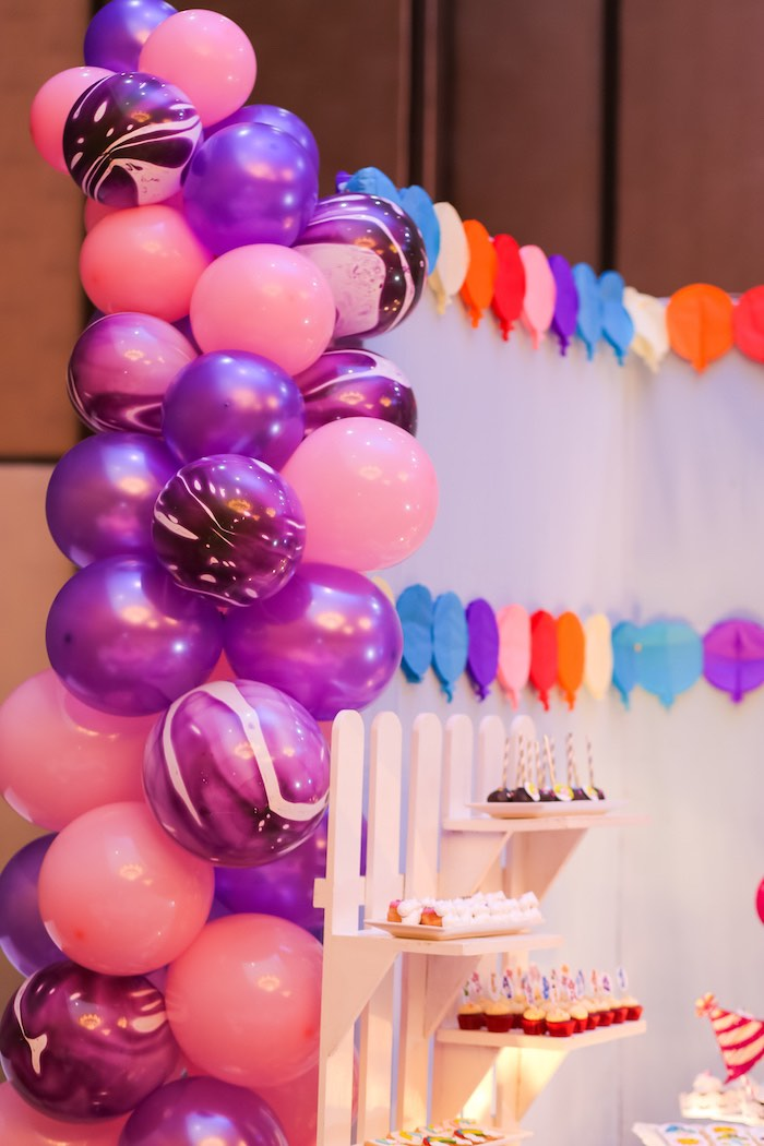 Pink & Purple Balloon Garland from a Care Bears Birthday Party on Kara's Party Ideas | KarasPartyIdeas.com (13)