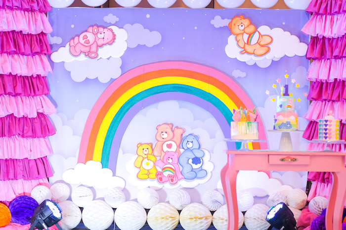 Care Bear Backdrop from a Care Bears Birthday Party on Kara's Party Ideas | KarasPartyIdeas.com (10)