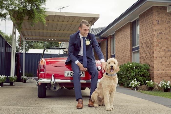 Classic Car Groom & Dog Wedding Photo from a Classic Backyard Wedding on Kara's Party Ideas | KarasPartyIdeas.com (15)