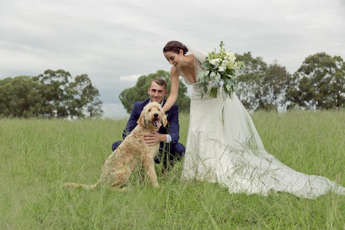 Bride + Groom & Pup from a Classic Backyard Wedding on Kara's Party Ideas | KarasPartyIdeas.com (14)