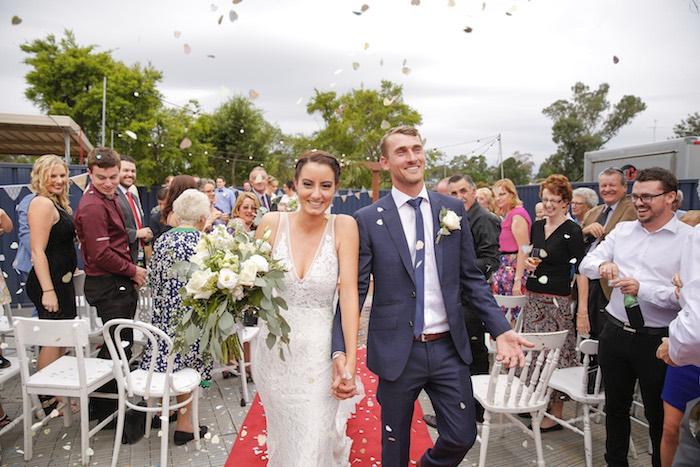 Celebratory Aisle Stroll from a Classic Backyard Wedding on Kara's Party Ideas | KarasPartyIdeas.com (5)