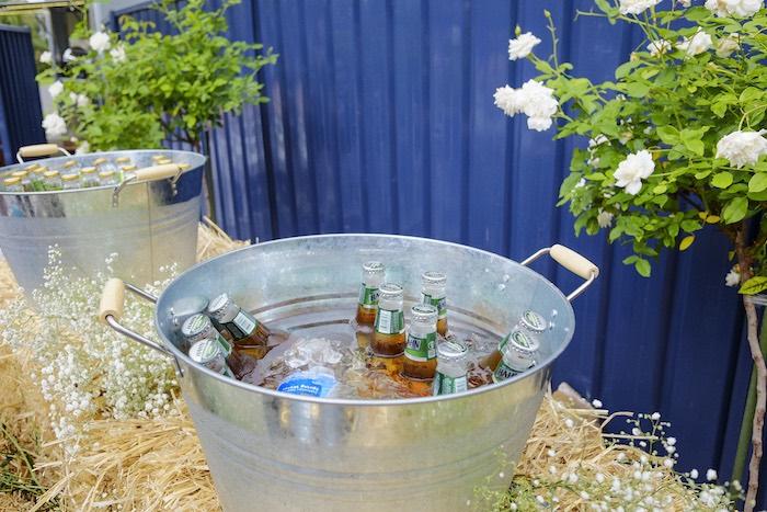 Galvanized Metal Drink Bucket from a Classic Backyard Wedding on Kara's Party Ideas | KarasPartyIdeas.com (24)