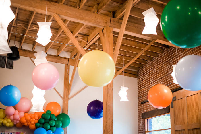 Jumbo Balloon Ceilingscape from a Colorful Art Party on Kara's Party Ideas | KarasPartyIdeas.com (8)