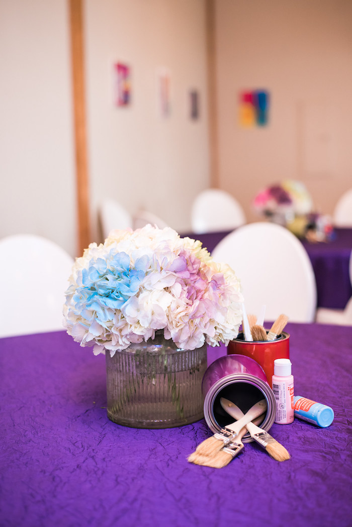 Painted Blooms + Art Supply Table Centerpiece from a Colorful Art Party on Kara's Party Ideas | KarasPartyIdeas.com (26)