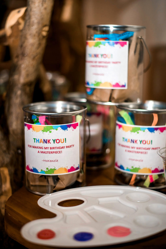 Paint Can Goodie Jars from a Colorful Art Party on Kara's Party Ideas | KarasPartyIdeas.com (7)