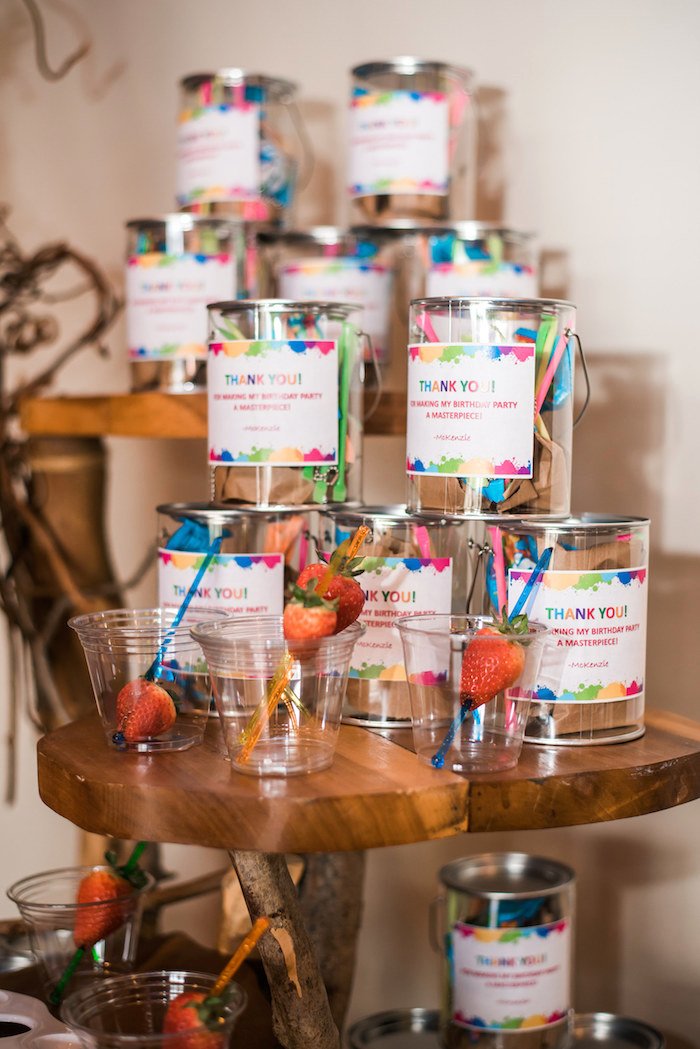 Paint Bucket Favors from a Colorful Art Party on Kara's Party Ideas | KarasPartyIdeas.com (25)