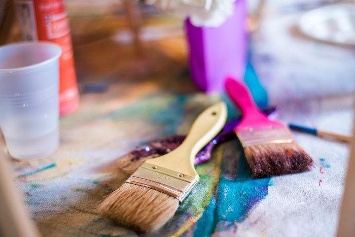 Paintbrushes used as centerpieces from a Colorful Art Party on Kara's Party Ideas | KarasPartyIdeas.com (19)