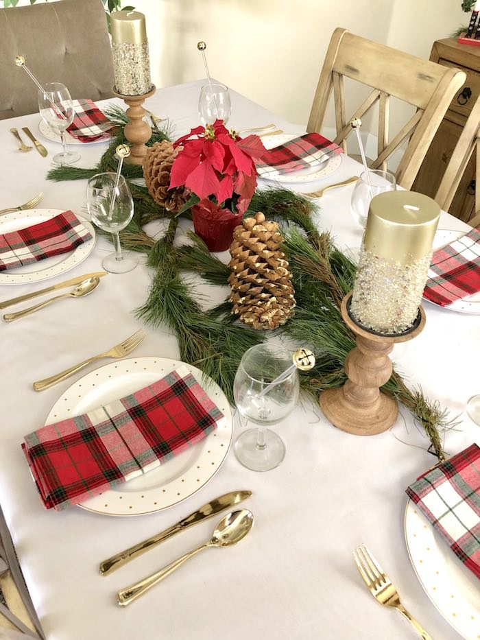 DIY Plaid & Pine Classic Christmas Tablescape on Kara's Party Ideas | KarasPartyIdeas.com (15)
