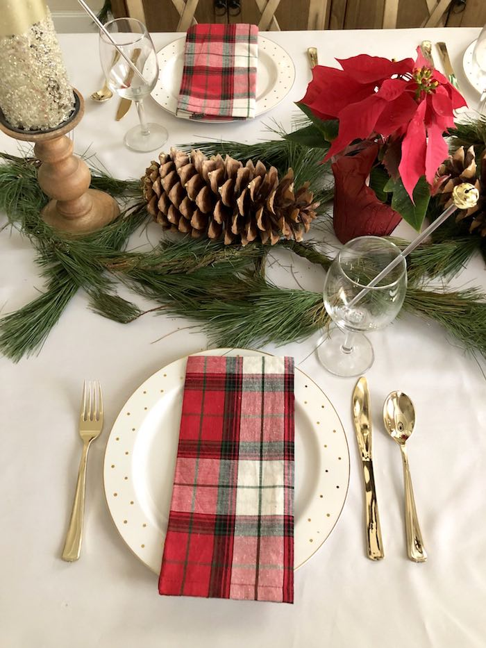 Elegant Plaid Table Setting from a DIY Plaid & Pine Classic Christmas Tablescape on Kara's Party Ideas | KarasPartyIdeas.com (14)