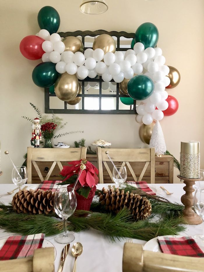 Christmas Table Centerpiece from a DIY Plaid & Pine Classic Christmas Tablescape on Kara's Party Ideas | KarasPartyIdeas.com (13)