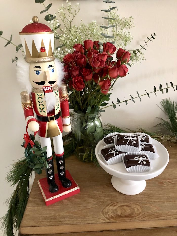 Nutcracker and Present Chocolates from a DIY Plaid & Pine Classic Christmas Tablescape on Kara's Party Ideas | KarasPartyIdeas.com (12)