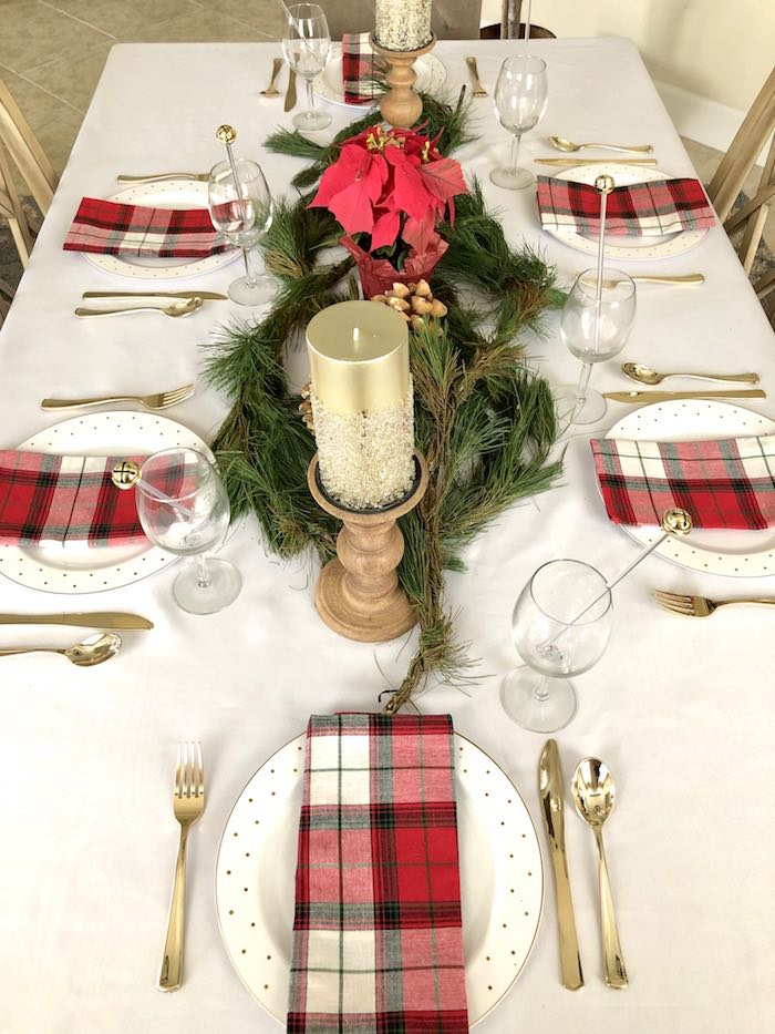 Elegant Plaid Dining Table from a DIY Plaid & Pine Classic Christmas Tablescape on Kara's Party Ideas | KarasPartyIdeas.com (8)