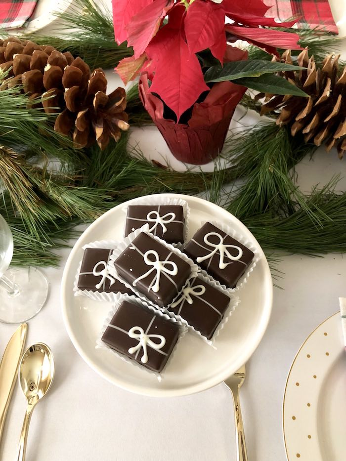 Present Chocolates from a DIY Plaid & Pine Classic Christmas Tablescape on Kara's Party Ideas | KarasPartyIdeas.com (7)