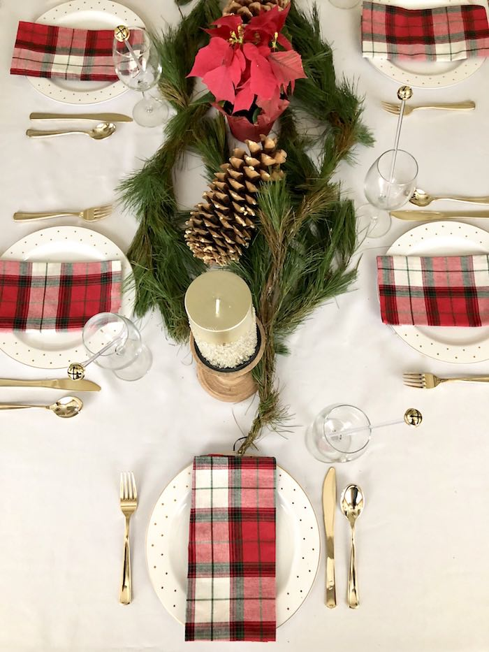 Plaid Table Settings from a DIY Plaid & Pine Classic Christmas Tablescape on Kara's Party Ideas | KarasPartyIdeas.com (4)