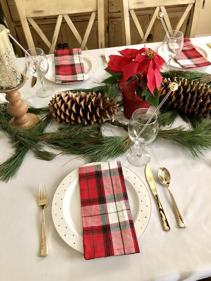 Plaid Christmas Table Setting from a DIY Plaid & Pine Classic Christmas Tablescape on Kara's Party Ideas | KarasPartyIdeas.com (3)