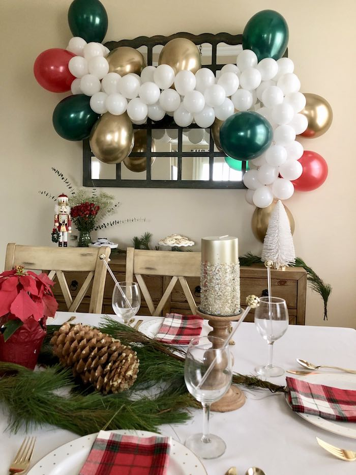 Party Tables from a DIY Plaid & Pine Classic Christmas Tablescape on Kara's Party Ideas | KarasPartyIdeas.com (20)