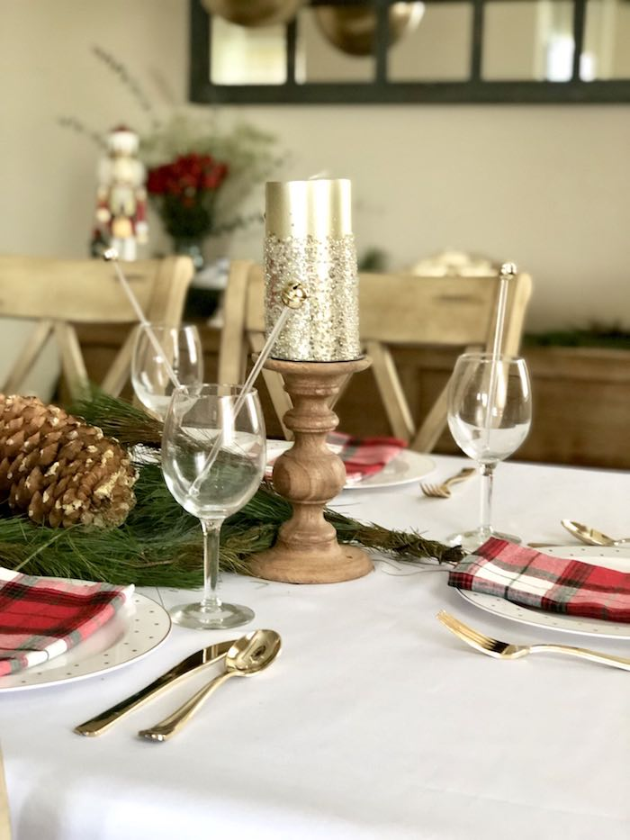 Goblets + Glasses from a DIY Plaid & Pine Classic Christmas Tablescape on Kara's Party Ideas | KarasPartyIdeas.com (19)