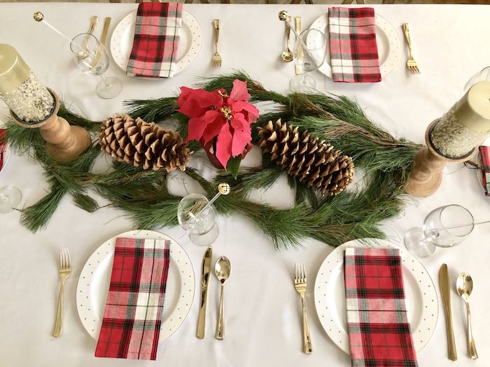 Elegant Plaid Table Settings + Tabletop from a DIY Plaid & Pine Classic Christmas Tablescape on Kara's Party Ideas | KarasPartyIdeas.com (18)