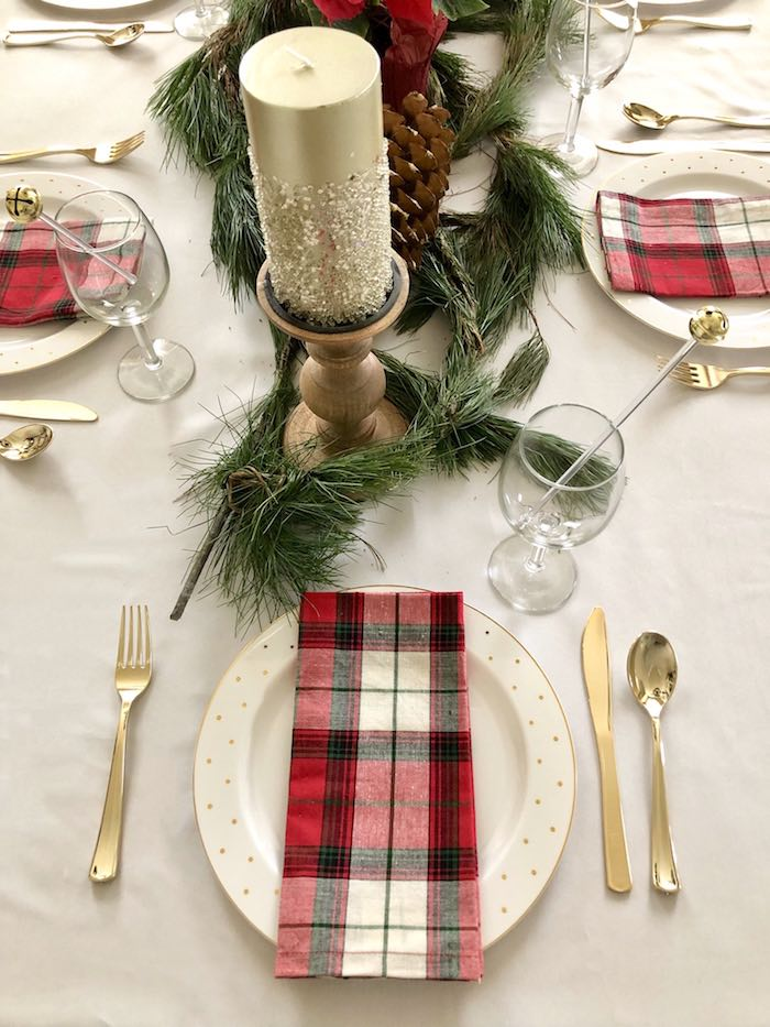 DIY Plaid & Pine Classic Christmas Tablescape on Kara's Party Ideas | KarasPartyIdeas.com (17)