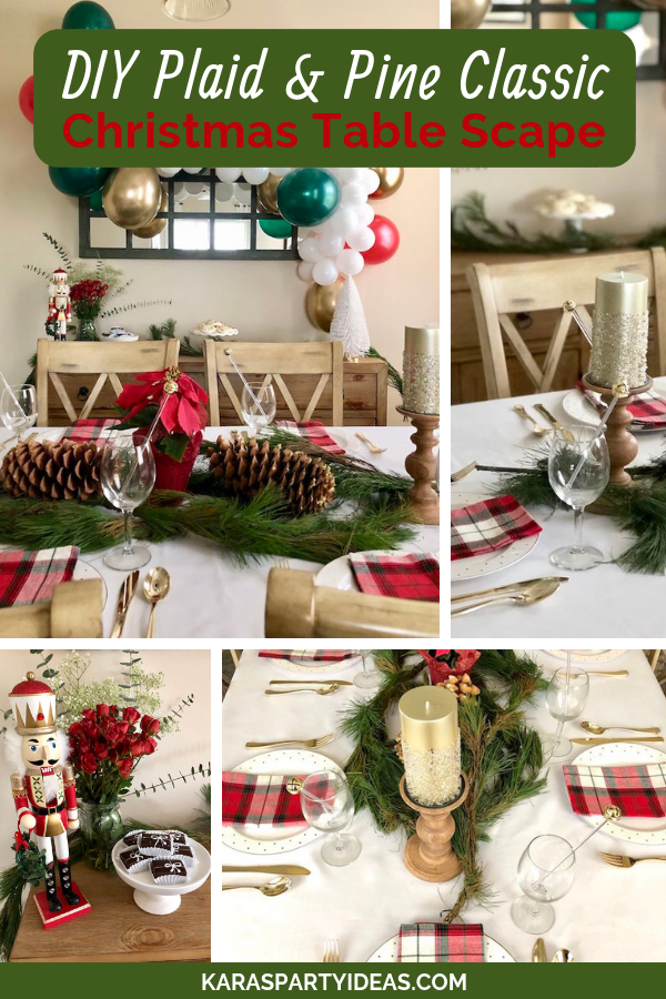 DIY Plaid and Pine Classic Christmas Tablescape via Kara's Party Ideas - KarasPartyIdeas.com