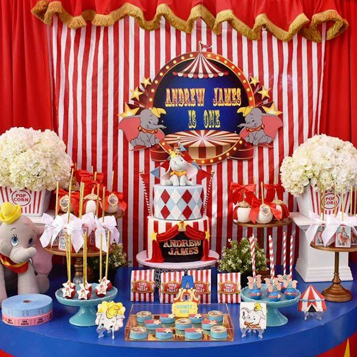 Dumbo Themed Circus Party Table from a Dumbo's Circus Party on Kara's Party Ideas | KarasPartyIdeas.com (8)