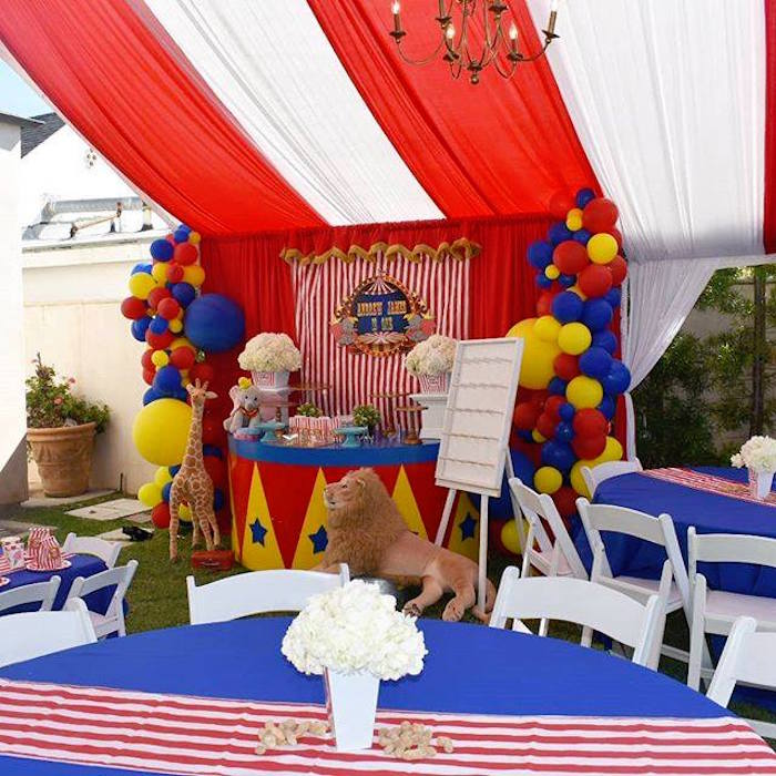 Circus Party Tables from a Dumbo's Circus Party on Kara's Party Ideas | KarasPartyIdeas.com (6)
