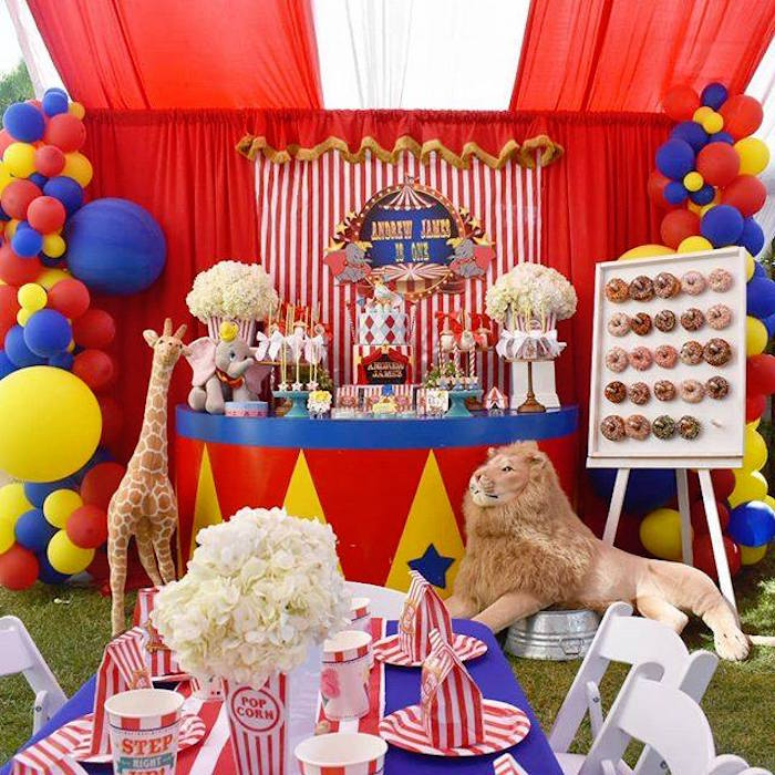 Circus Party Tables from a Dumbo's Circus Party on Kara's Party Ideas | KarasPartyIdeas.com (5)