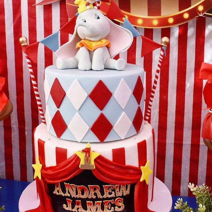 Dumbo-inspired Cake from a Dumbo's Circus Party on Kara's Party Ideas | KarasPartyIdeas.com (3)