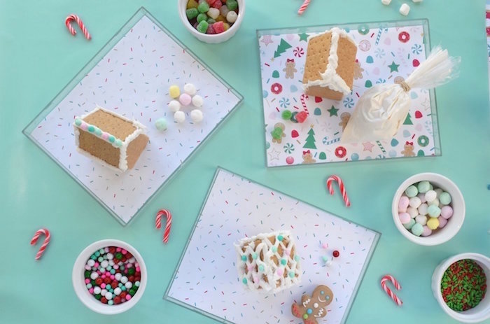 Graham Cracker 'Gingerbread' House Decorating Station from a Gingerbread Candy Land Christmas Party on Kara's Party Ideas | KarasPartyIdeas.com (5)